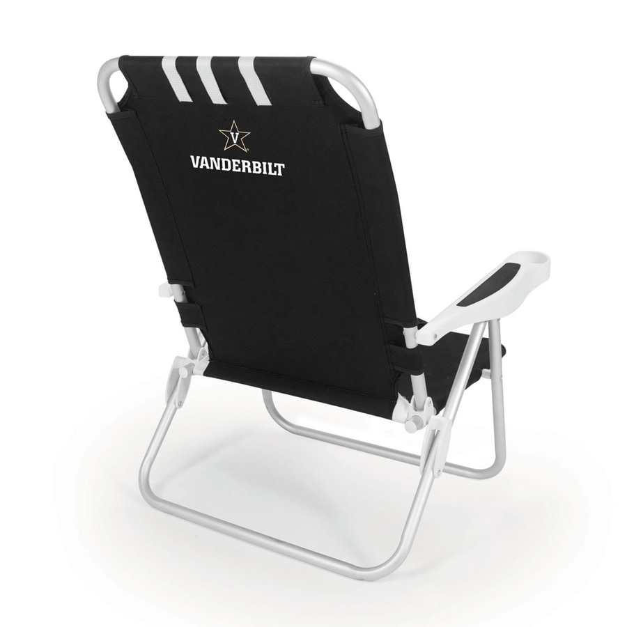Picnic Time Black NCAA Vanderbilt Commodores Steel Folding Beach Chair