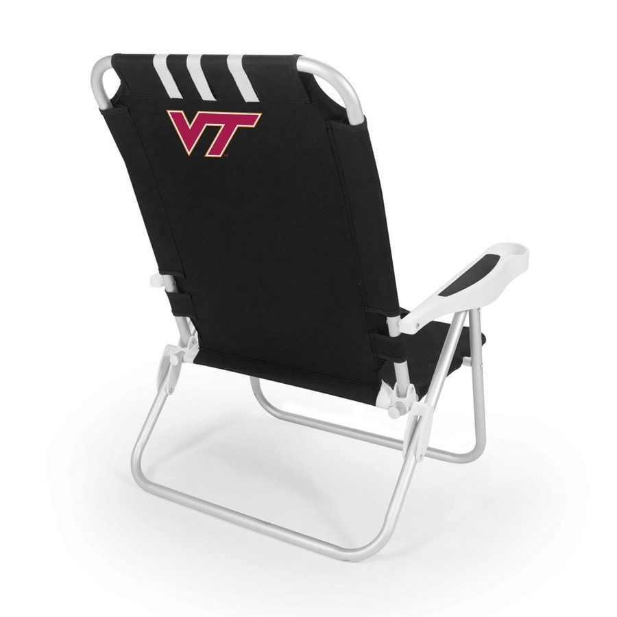 Picnic Time Black NCAA Virginia Tech Hokies Steel Folding Beach Chair