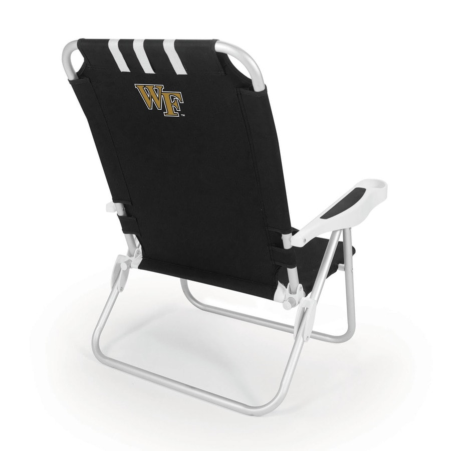 Picnic Time Black NCAA Wake Forest Demon Deacons Steel Folding Beach Chair