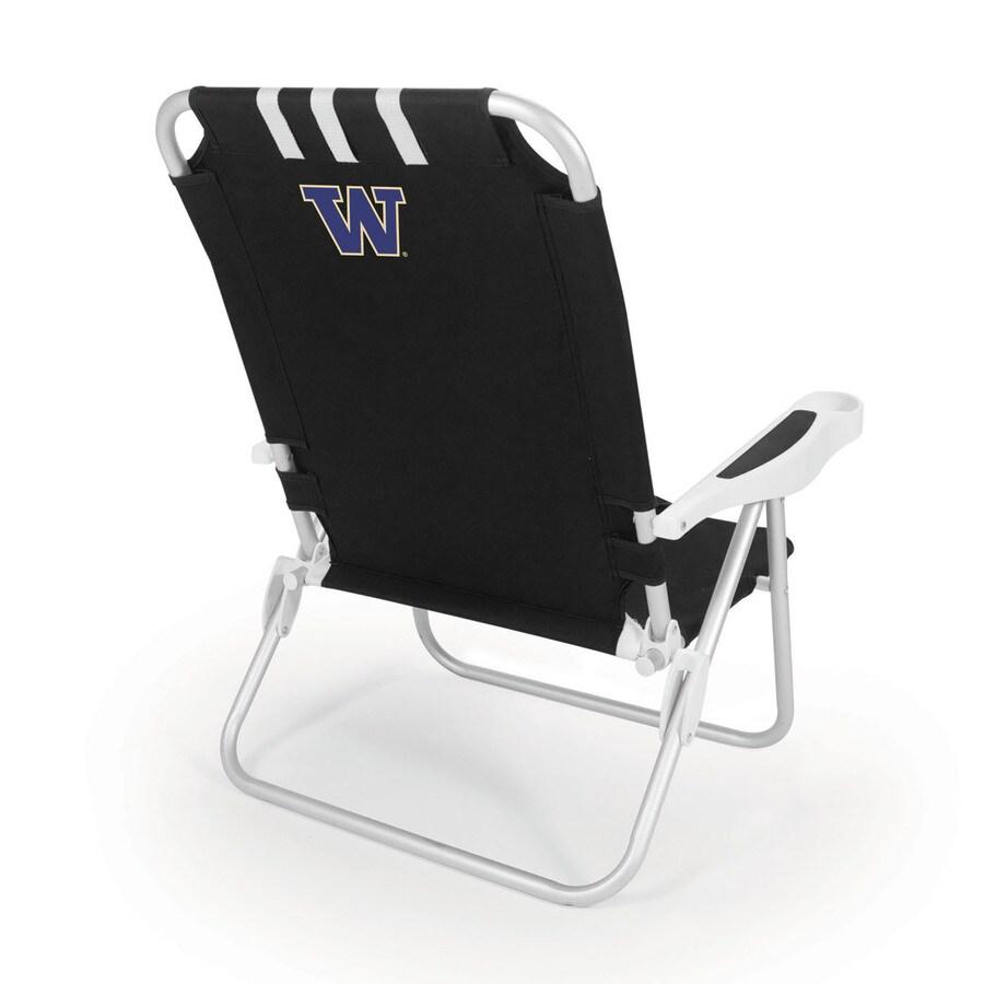Picnic Time Black NCAA Washington Huskies Steel Folding Beach Chair