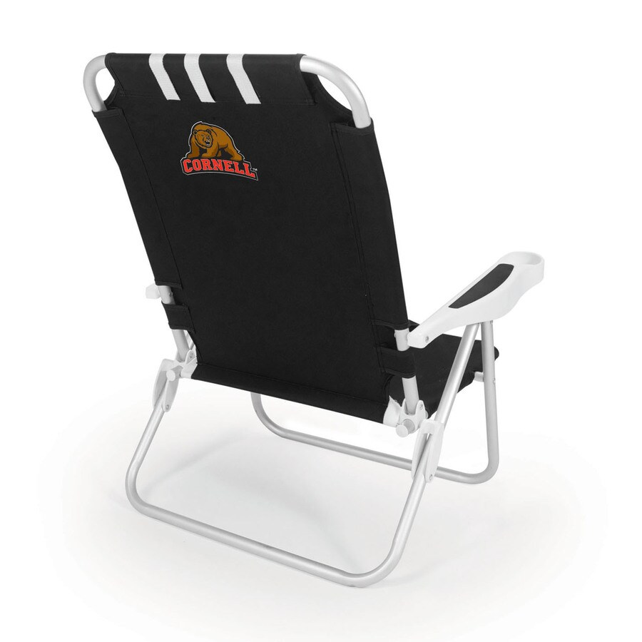 Picnic Time Black NCAA Cornell Big Red Steel Folding Beach Chair