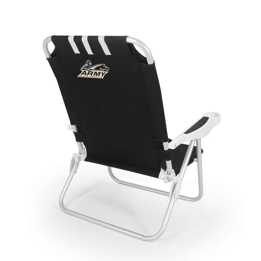 Picnic Time Black NCAA Army Black Knights Steel Folding Beach Chair
