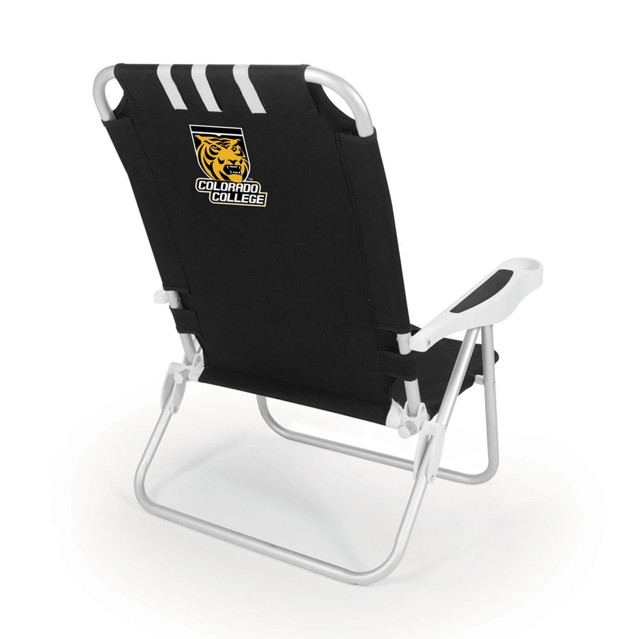 Picnic Time Black NCAA Colorado College Tigers Steel Folding Beach Chair