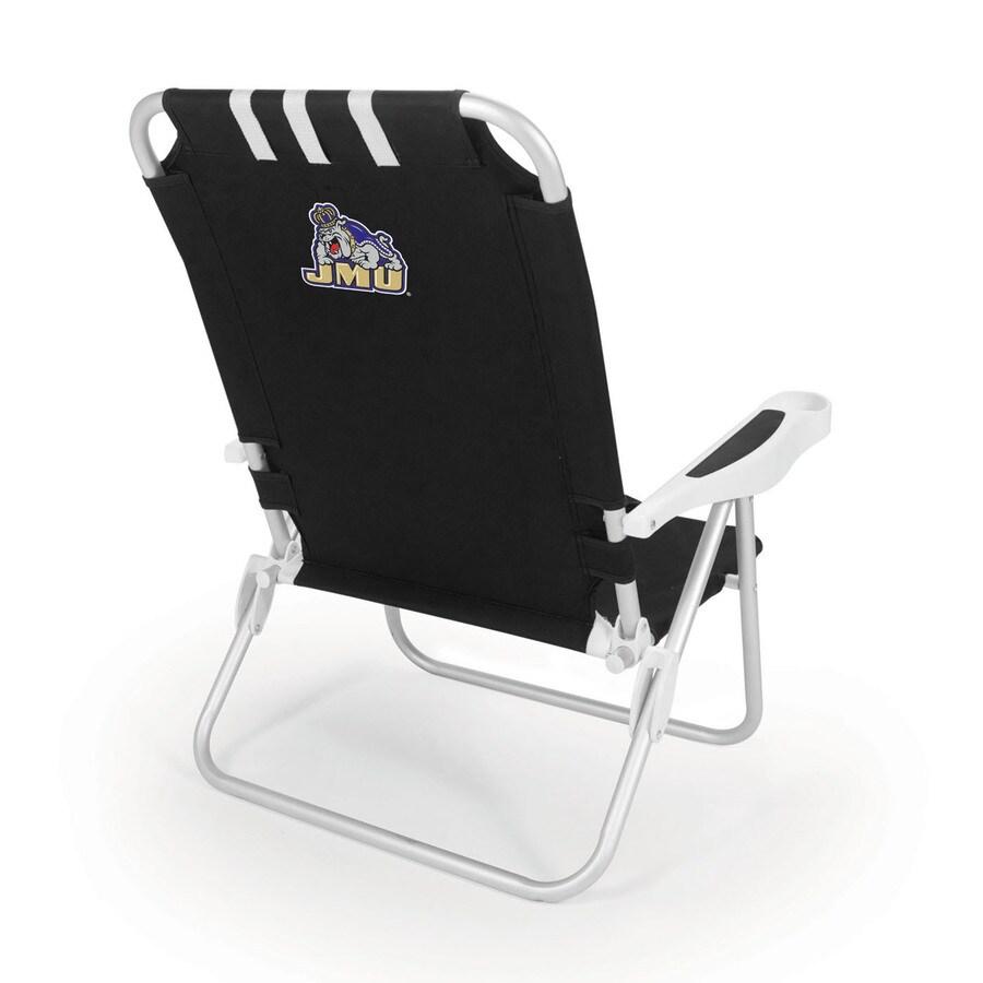 Picnic Time Black NCAA James Madison Dukes Steel Folding Beach Chair