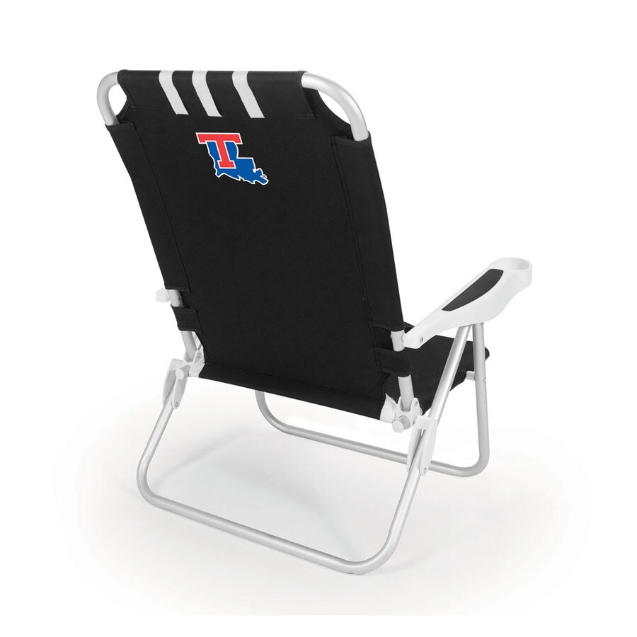 Picnic Time Black NCAA Louisiana Tech Bulldogs Steel Folding Beach Chair
