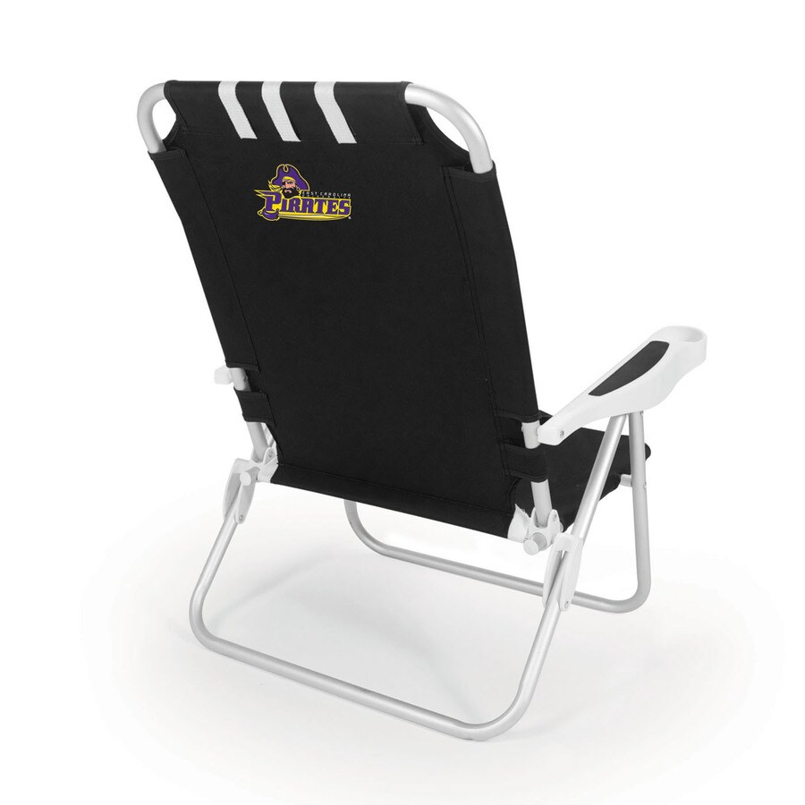 Picnic Time Black NCAA East Carolina Pirates Steel Folding Beach Chair
