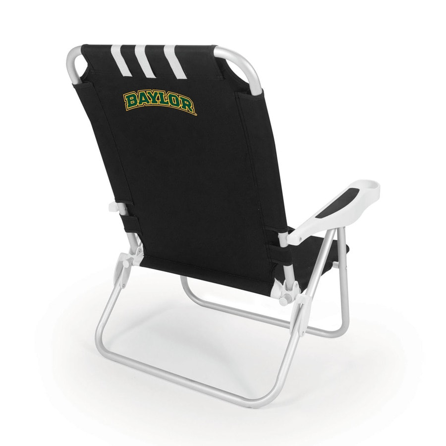 Picnic Time Black NCAA Baylor Bears Steel Folding Beach Chair
