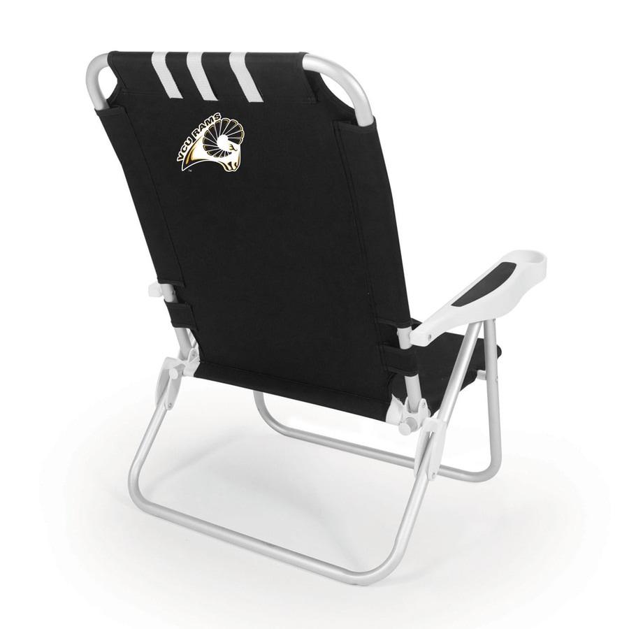 Picnic Time Black NCAA Vcu Rams Steel Folding Beach Chair