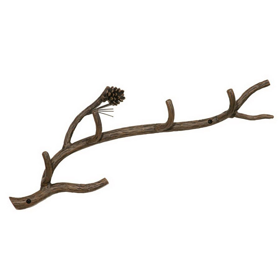 Stone County Ironworks Pine Rustic Bark 5-Hook Coat Stand