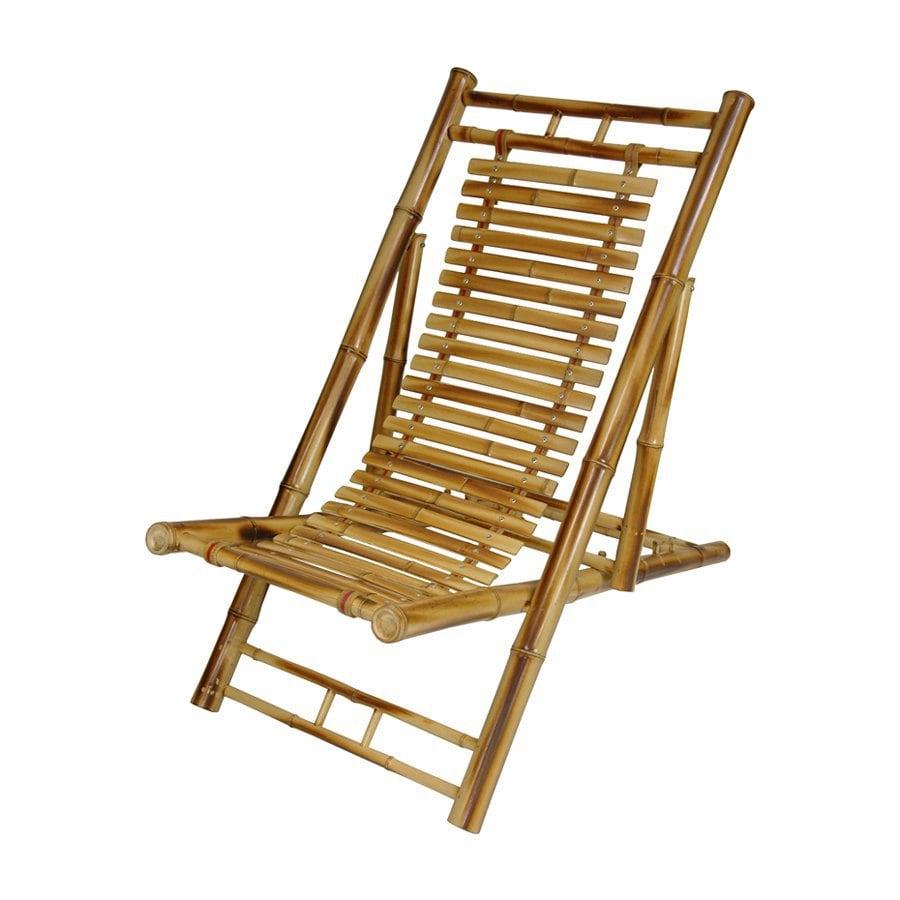 Oriental Furniture Natural Japanese Bamboo Folding Beach Chair