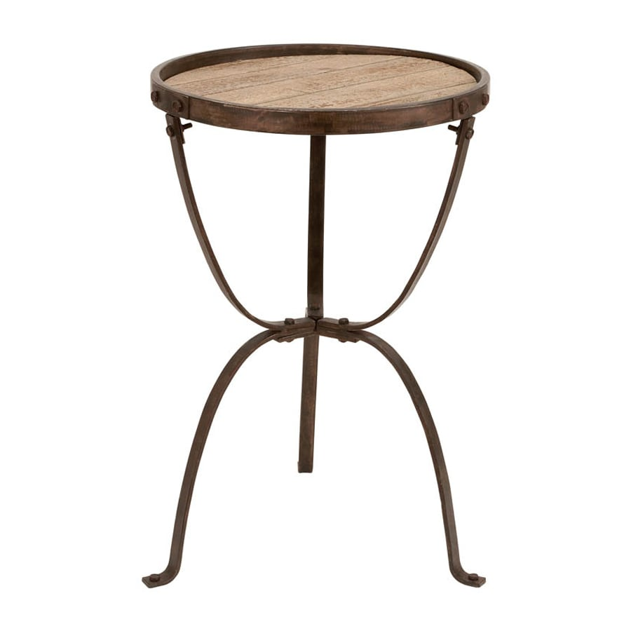 Woodland Imports Accent Brown Fir Round End Table
