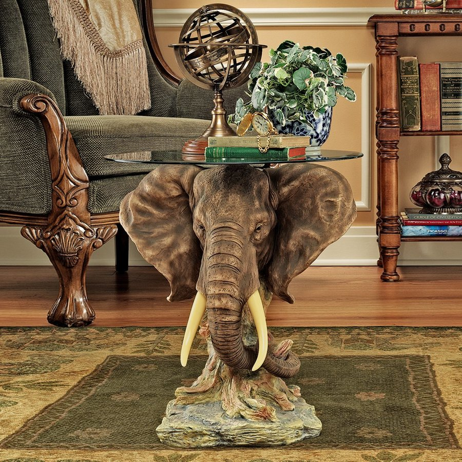 Design Toscano Lord Earl Houghton's Trophy Light Brown End Table