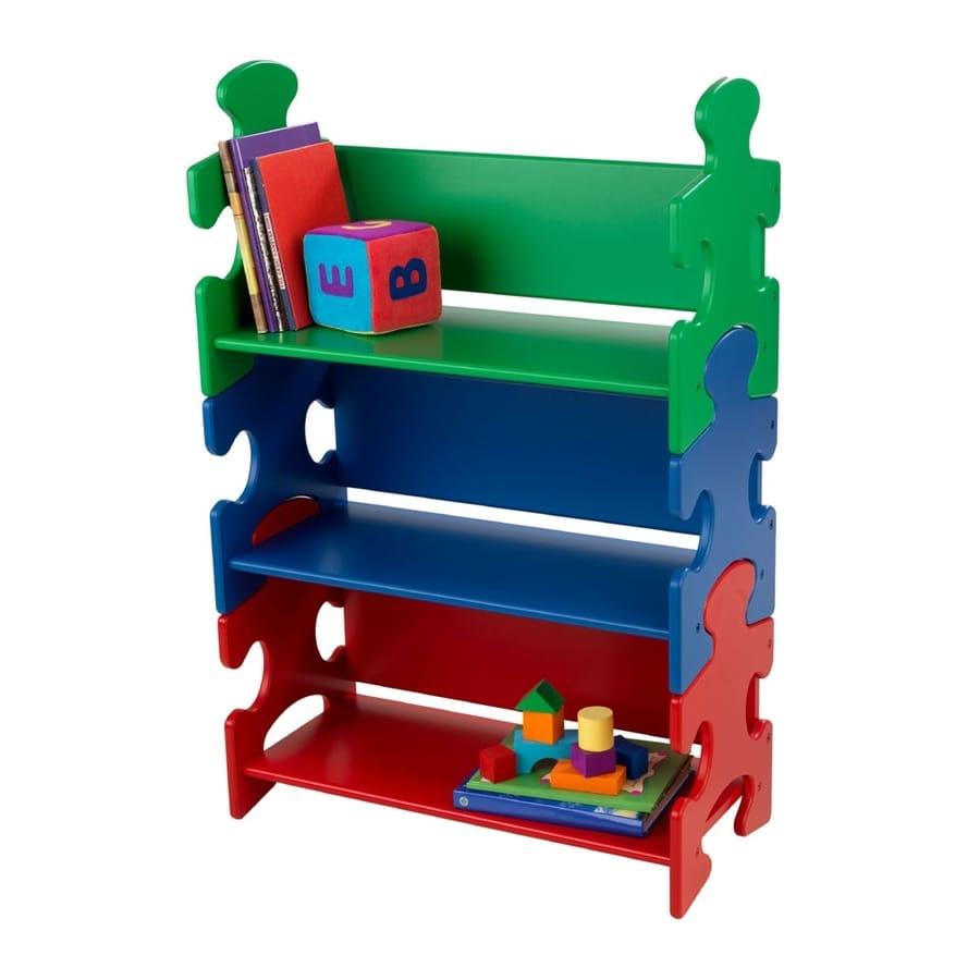 KidKraft Blue/Green/Red 25-in W x 37.5-in H x 11.5-in D 3-Shelf Bookcase