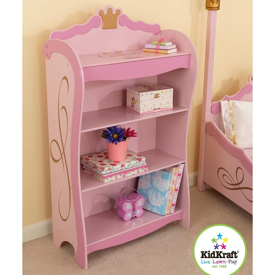 KidKraft Princess Bright Pink 24.5-in W x 42.5-in H x 12-in D 4-Shelf Bookcase