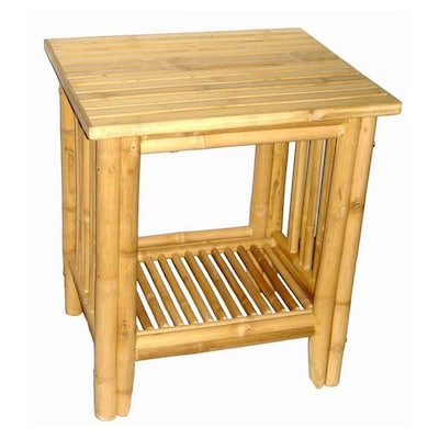 Bamboo Wood Coastal End Table