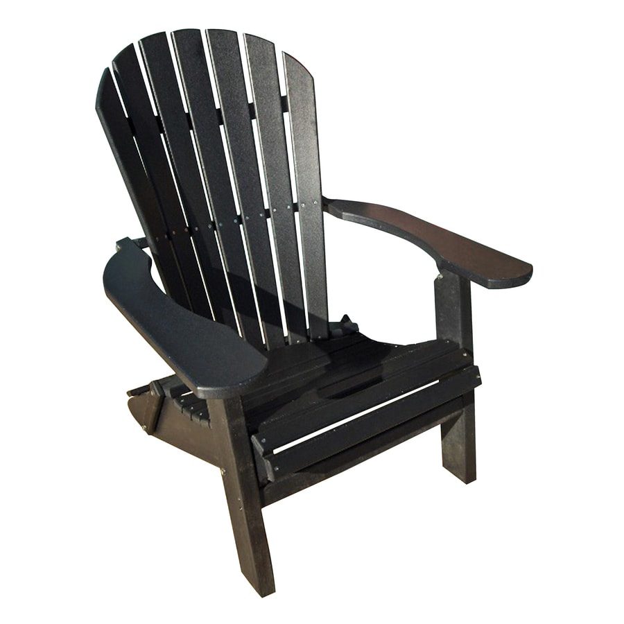 Phat Tommy Black Recycled Poly Folding Patio Adirondack Chair
