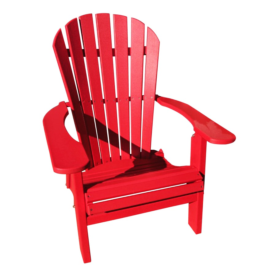 Folding patio chairs - Engine Red Recycled Poly Folding Patio Adirondack Chair At Lowes Com