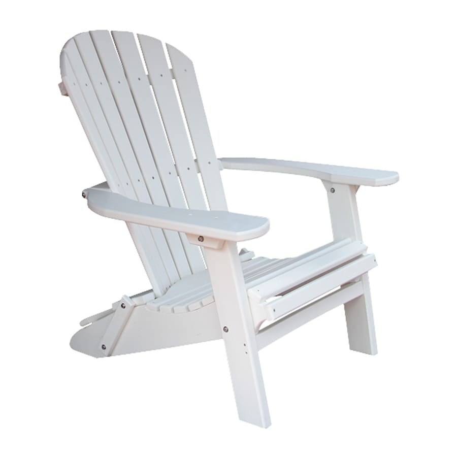 Phat Tommy Alpine White Recycled Poly Folding Patio Adirondack Chair