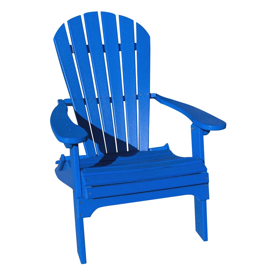 Phat Tommy Marina Blue Recycled Poly Folding Patio Adirondack Chair