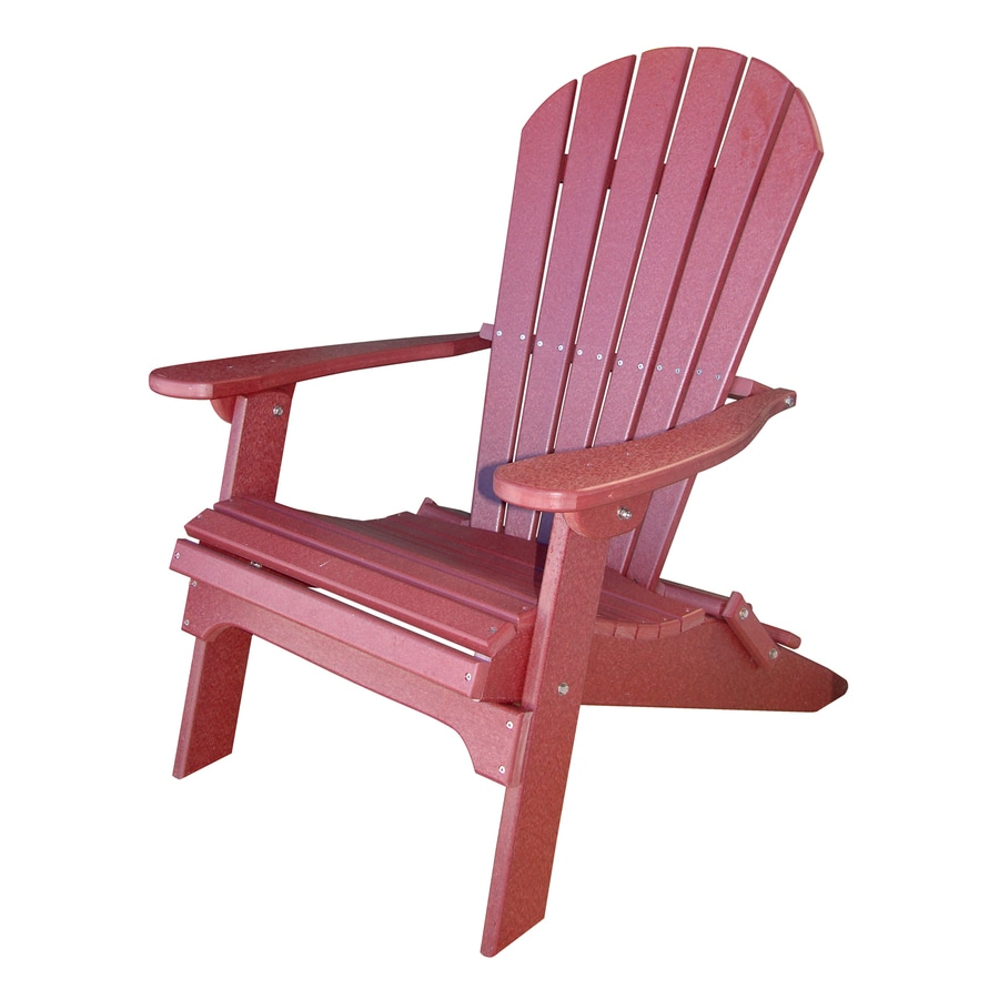 Phat Tommy Merlot Recycled Poly Folding Patio Adirondack Chair