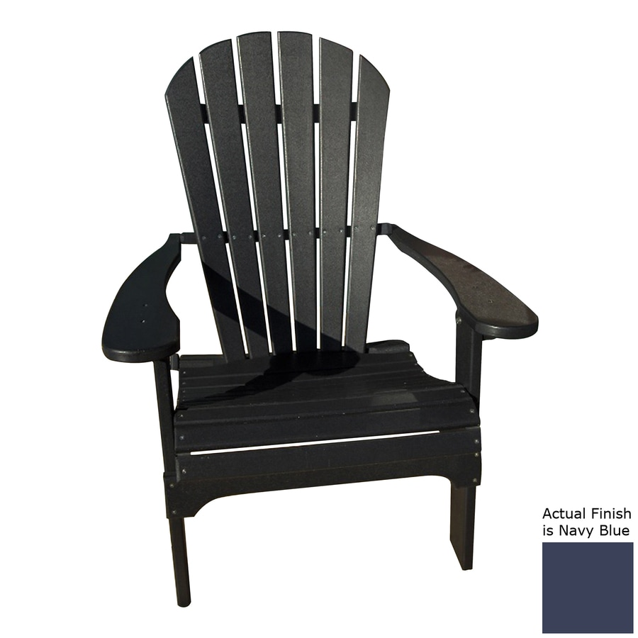 Phat Tommy Navy Recycled Poly Folding Patio Adirondack Chair