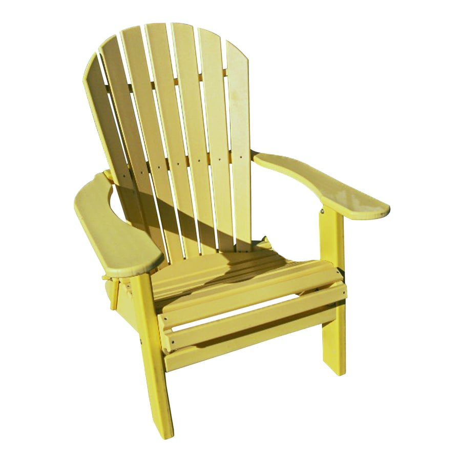 Phat Tommy Sunshine Yellow Recycled Poly Folding Patio Adirondack Chair