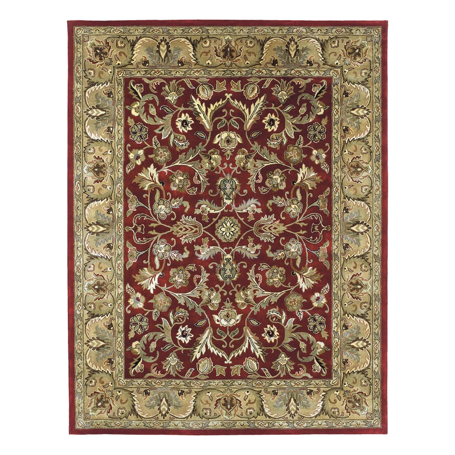 Kaleen Mystic Rectangular Red Floral Wool Area Rug (Common: 8-ft x 10-ft; Actual: 8-ft x 10-ft)