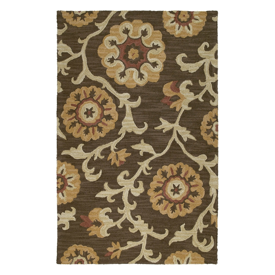 Kaleen Carriage Rectangular Brown Floral Wool Area Rug (Common: 8-ft x 10-ft; Actual: 8-ft x 10-ft)