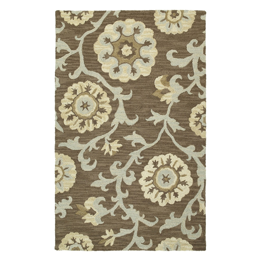 Kaleen Carriage Rectangular Brown Floral Wool Accent Rug (Common: 2-ft x 3-ft; Actual: 24-in x 36-in)