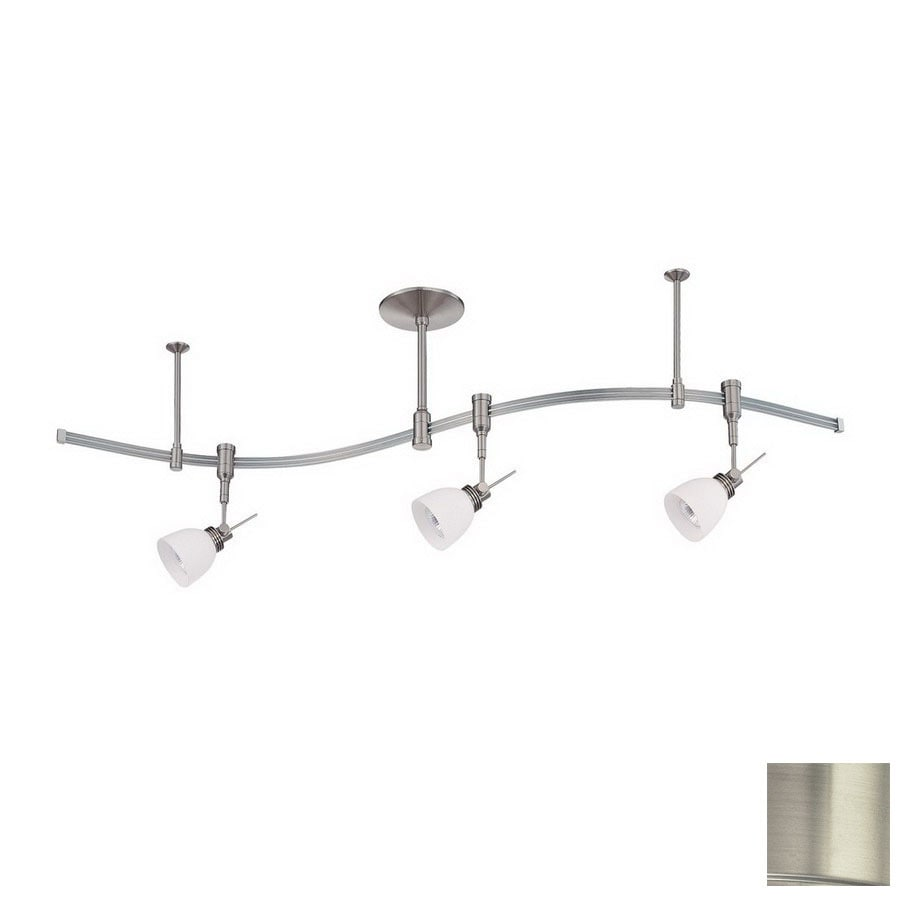 Kendal Lighting 3 Light 48 In Satin Nickel Flexible Track Light With Opal  White