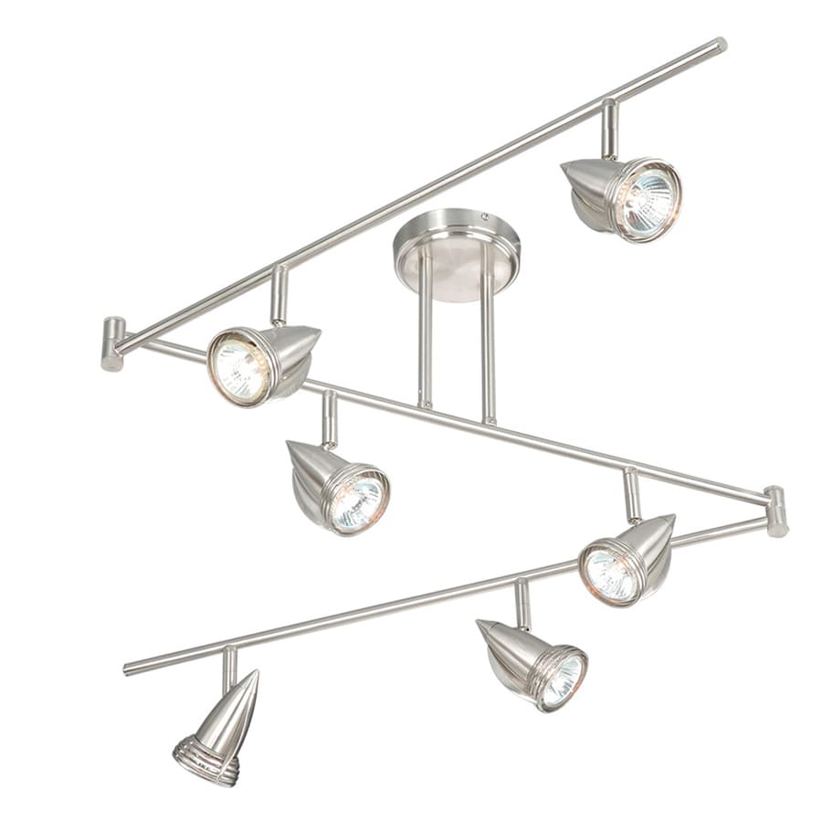 Cascadia Lighting 6 Light 72 In Satin Nickel Flexible Track Light With Glass