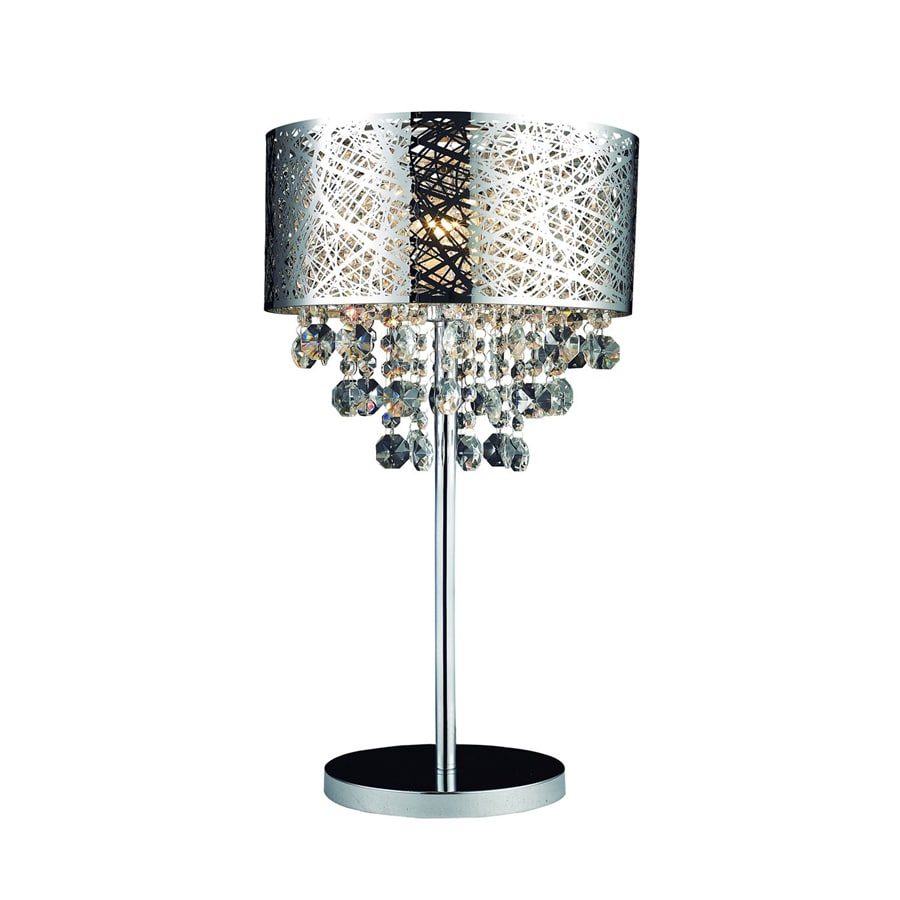 Gen Lite 25 In Chrome Crystal Accent Table Lamp With Metal Shade At
