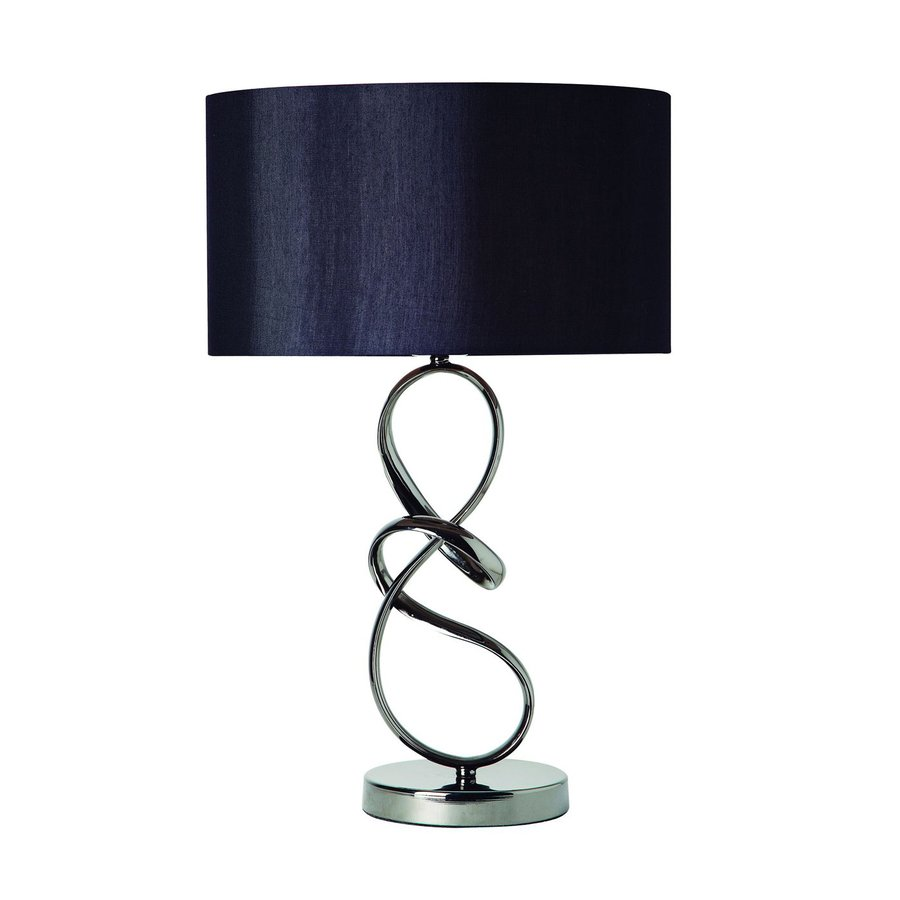 Gen Lite Sublime 22 5 In Black Chrome Indoor Table Lamp With Fabric Shade