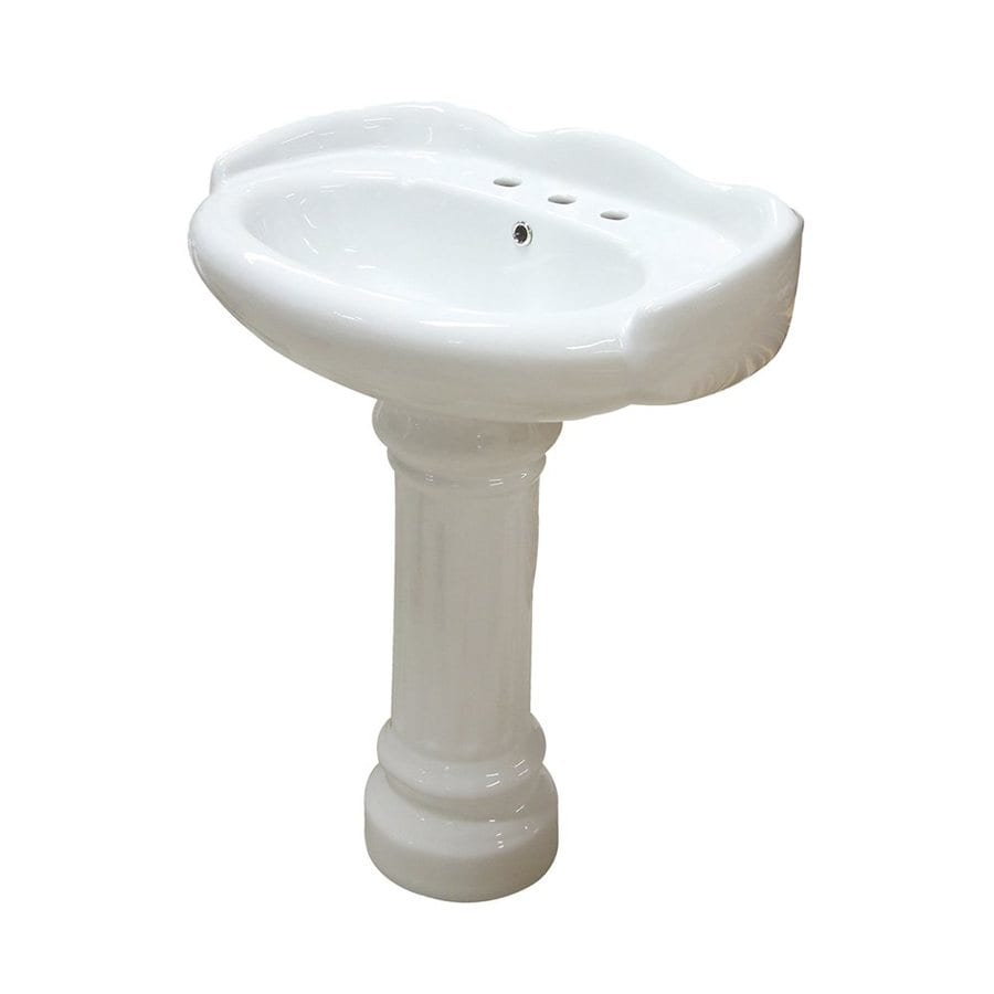 Elements of Design Georgian 26.75-in H White Vitreous China Pedestal Sink