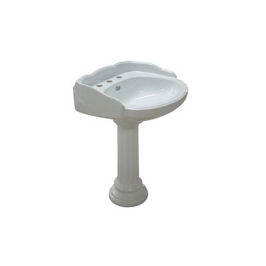 Elements of Design Georgian 37.25-in H White Vitreous China Complete Pedestal Sink