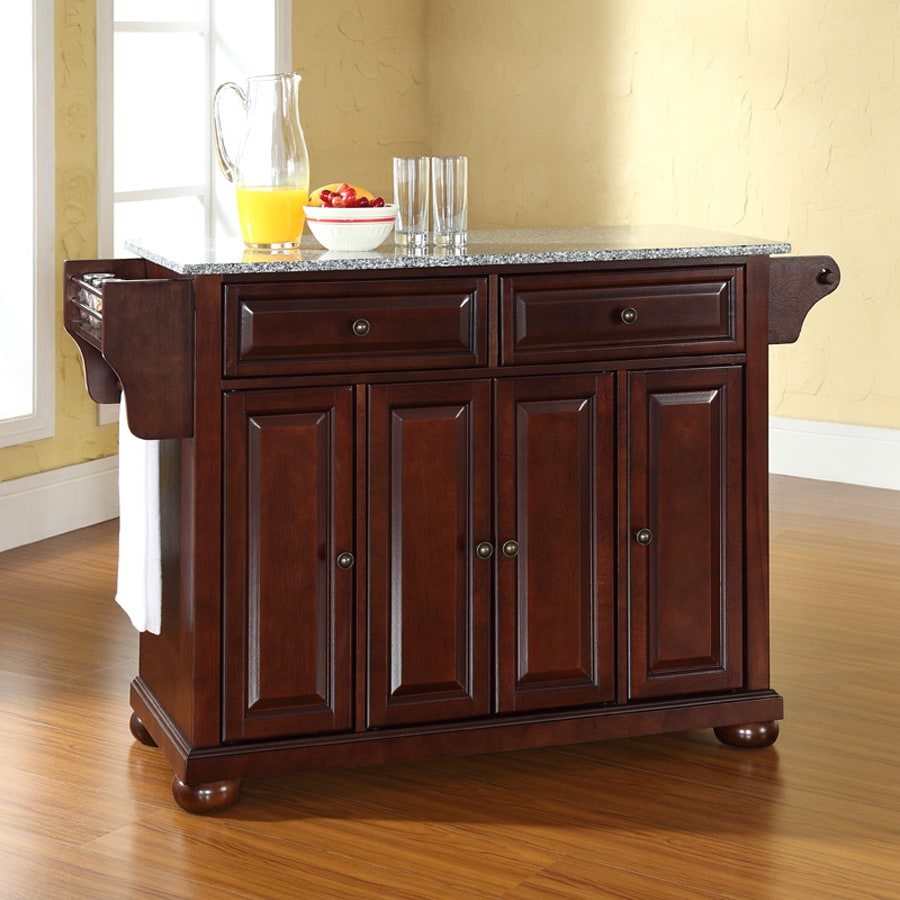 Crosley Furniture 52-in L x 18-in W x 34-in H Vintage Mahogany Kitchen Island