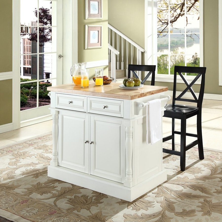 Crosley Furniture 48.25-in L x 23-in W x 36-in H White Kitchen Island with 2 Stools