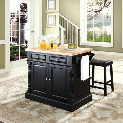Groovy Crosley Furniture Black Craftsman Kitchen Island With 2 Pabps2019 Chair Design Images Pabps2019Com