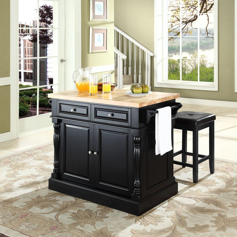 Crosley Furniture 48.25-in L x 23-in W x 36-in H Black Kitchen Island with 2 Stools