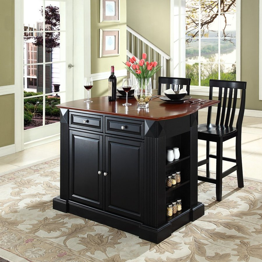 Shop Crosley Furniture Black Craftsman Kitchen Island With 2 Stools At