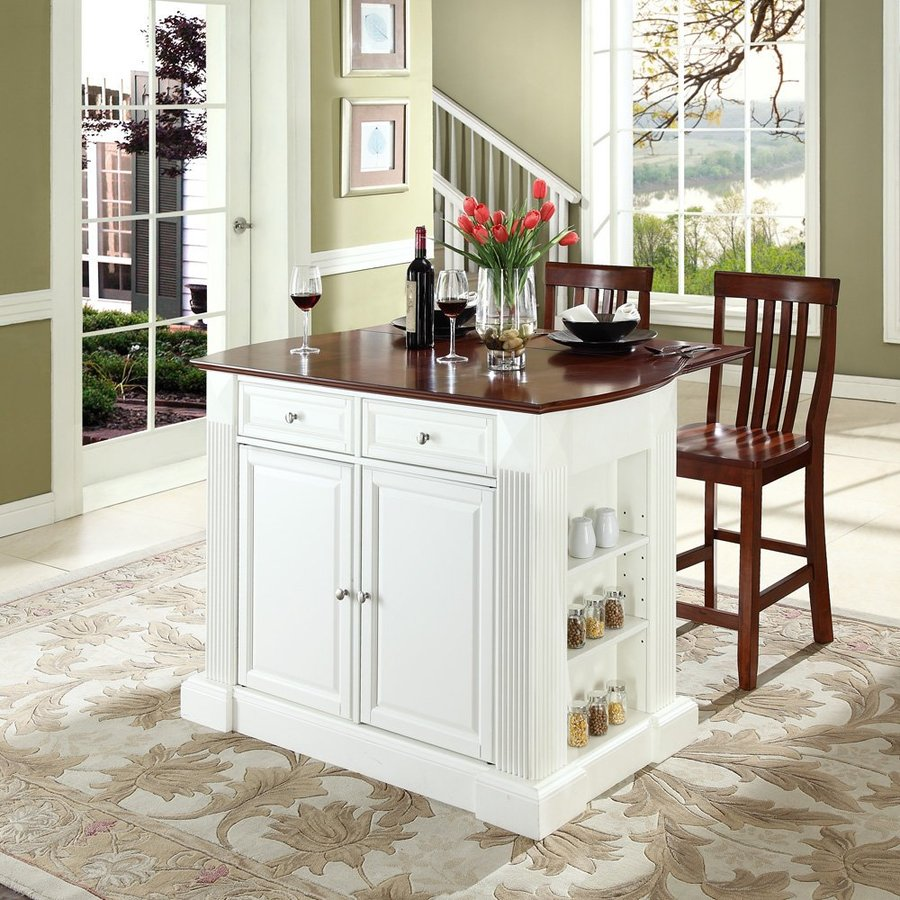 Crosley Furniture 48-in L x 35-in W x 36-in H White Kitchen Island with 2 Stools