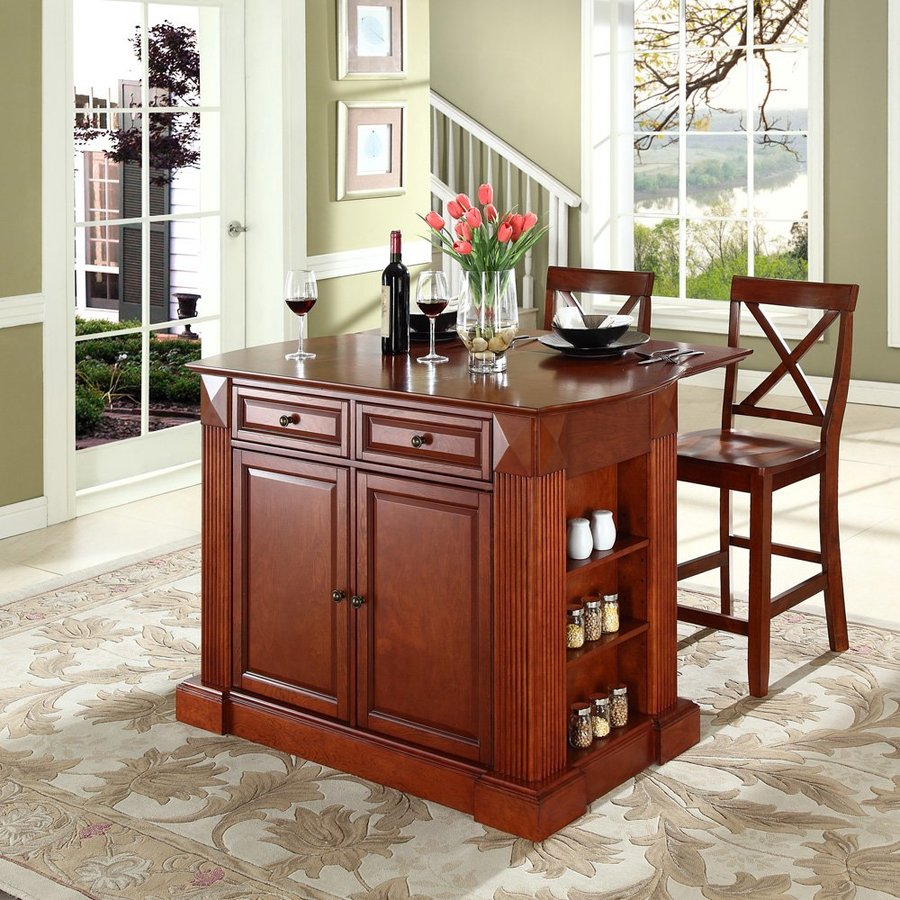 Crosley Furniture 48-in L x 35-in W x 36-in H Brown Craftsman Kitchen Islands with with 2-Stools