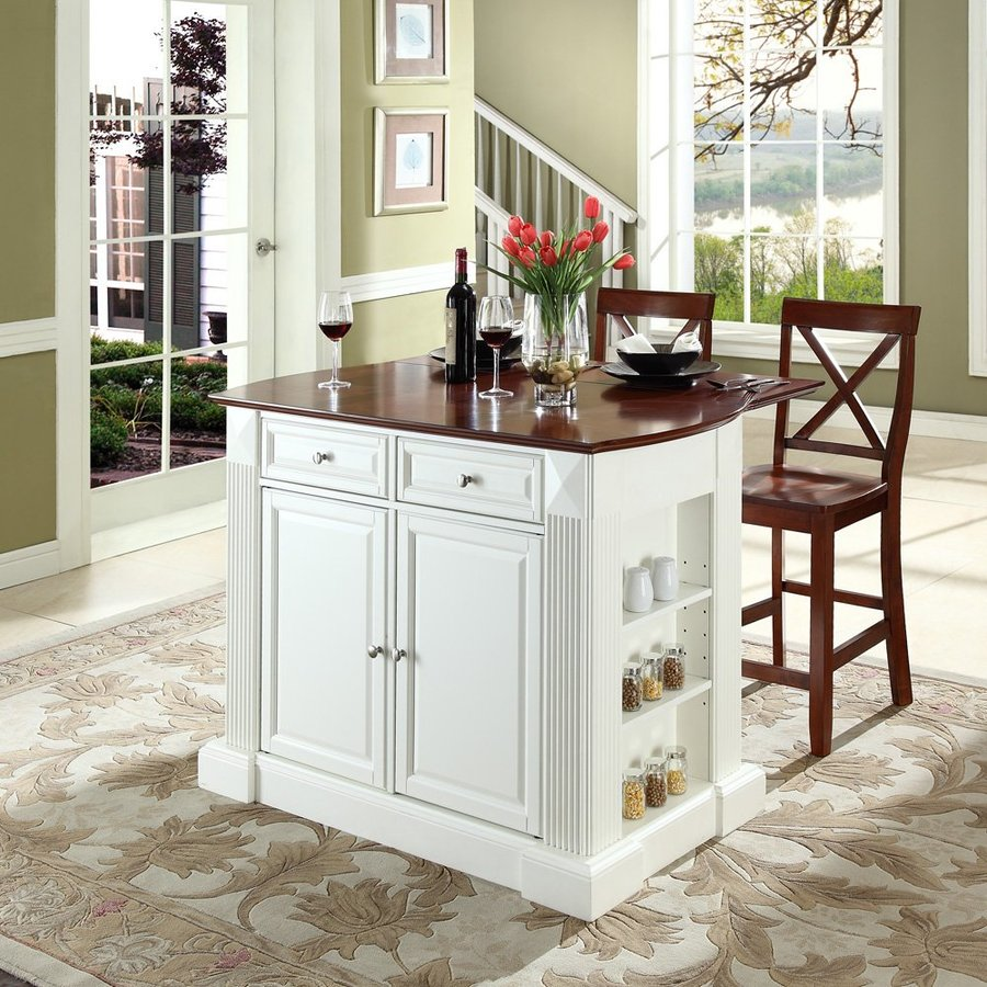 Crosley Furniture White Craftsman Kitchen Island with 2-Stools