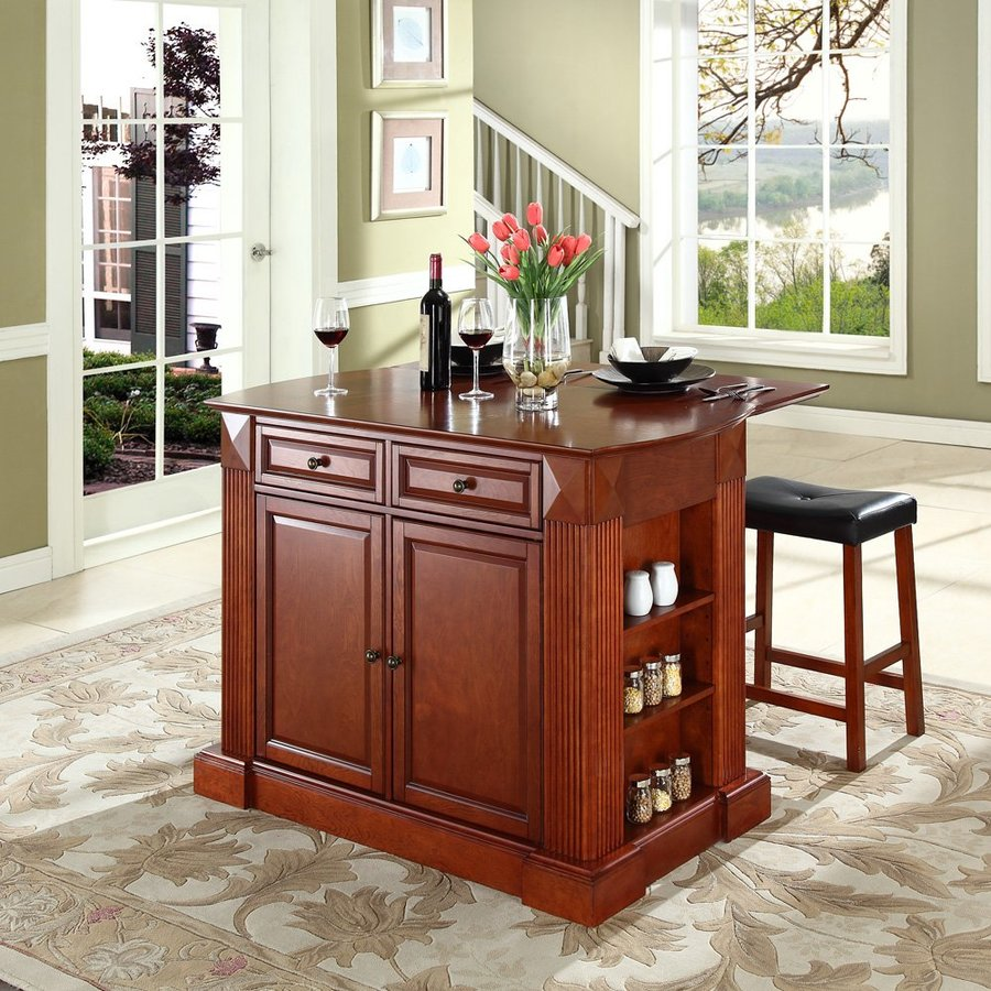 Crosley Furniture 48-in L x 35-in W x 36-in H Classic Cherry Kitchen Island with 2 Stools