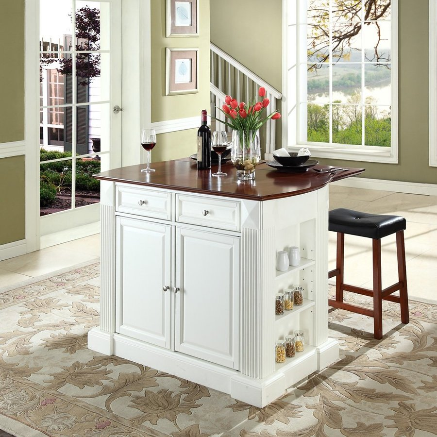 Shop crosley furniture white craftsman kitchen island with 2 stools at - Ilots central cuisine ...