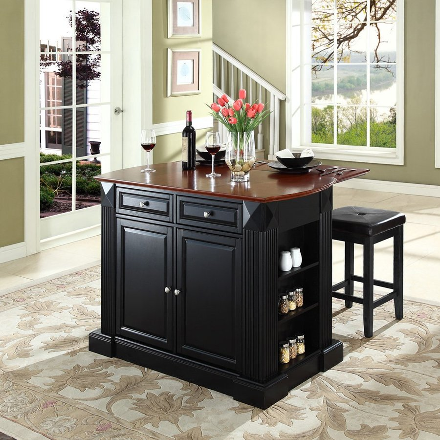 Crosley Furniture Black Craftsman Kitchen Island with 2-Stools