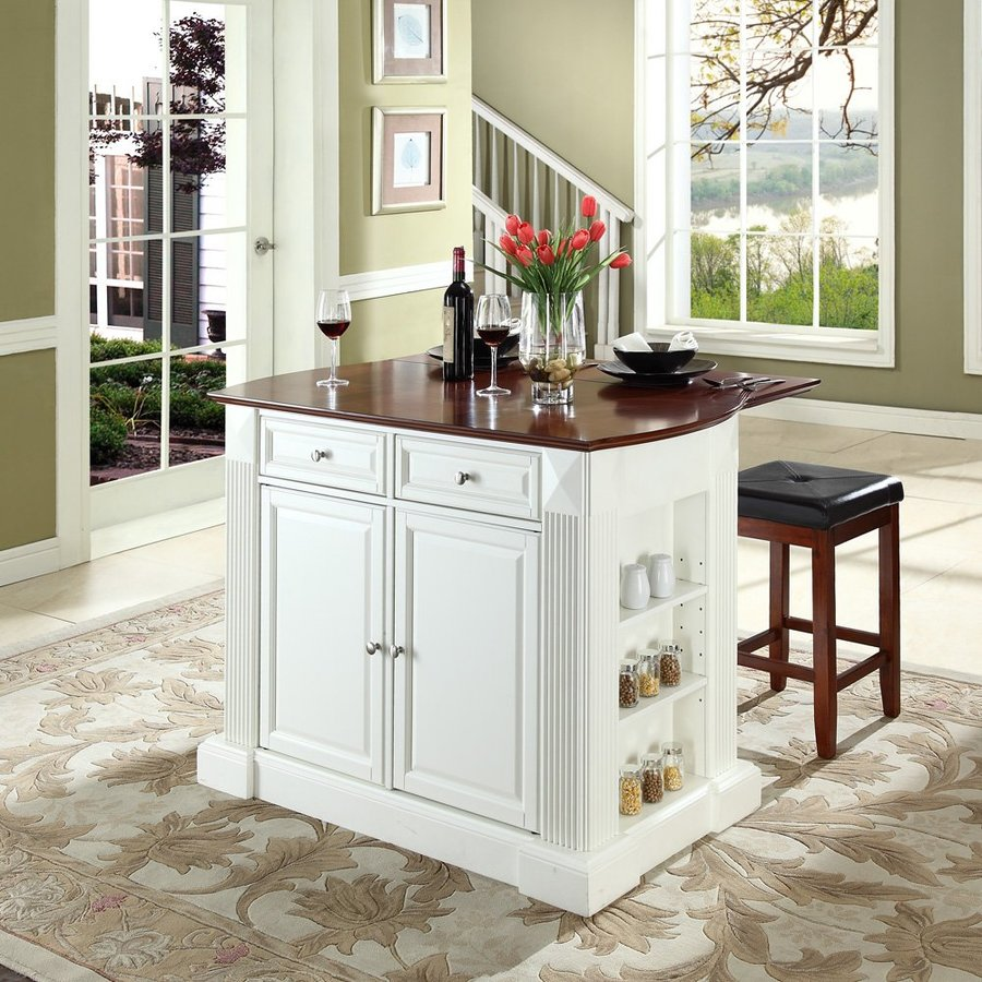 Crosley Furniture White Craftsman Kitchen Island with 2-Stools