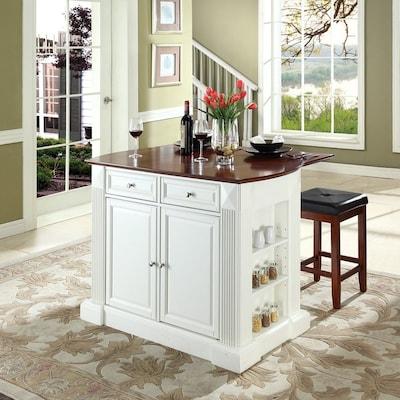 Crosley Furniture White Craftsman Kitchen Island with 2 ...