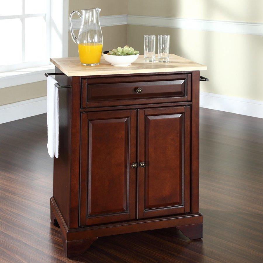 Crosley Furniture 28.25-in L x 18-in W x 36-in H Vintage Mahogany Kitchen Island