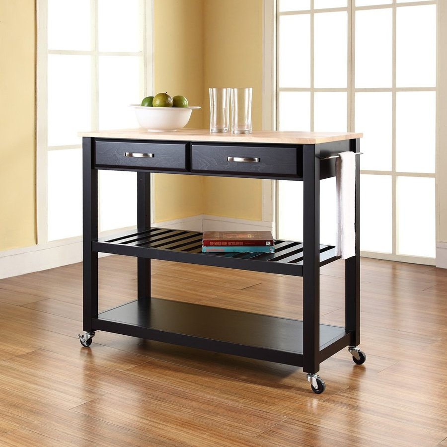 Crosley Furniture Black Craftsman Kitchen Cart